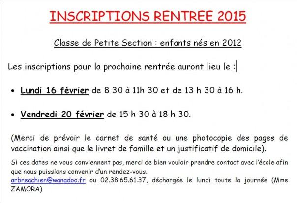 Inscriptions école rentrée scolaire 2015