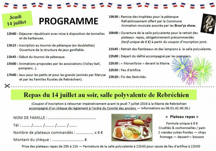 Inscriptions au dîner du 14 juillet jusqu'à vendredi
