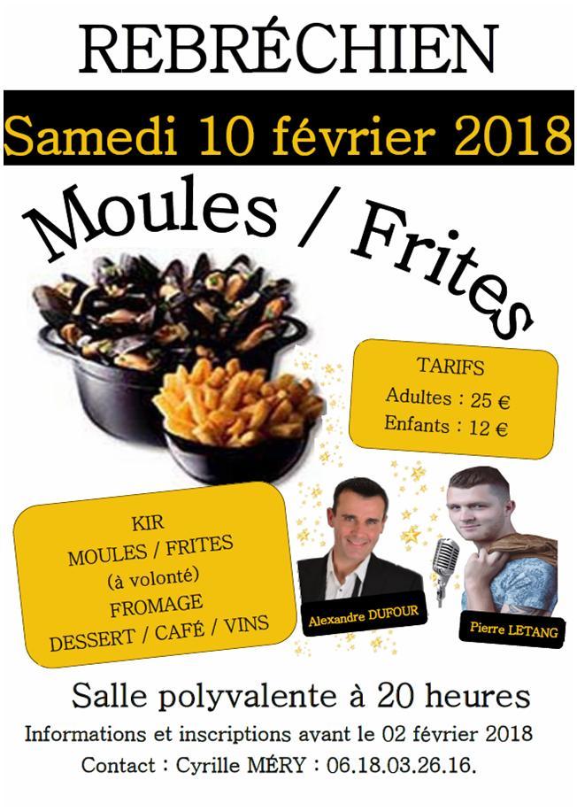 Inscriptions à la soirée Moules Frites du 10 février 2018