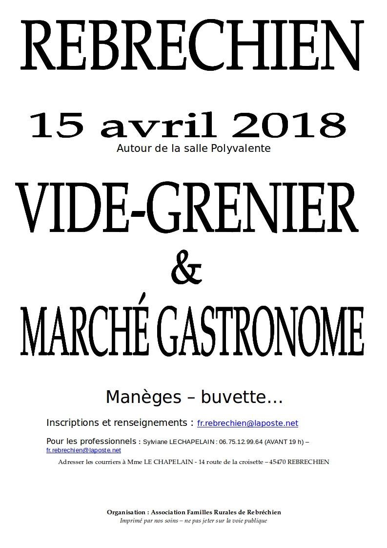 Vide-grenier et Marché Gastronome le 15 avril