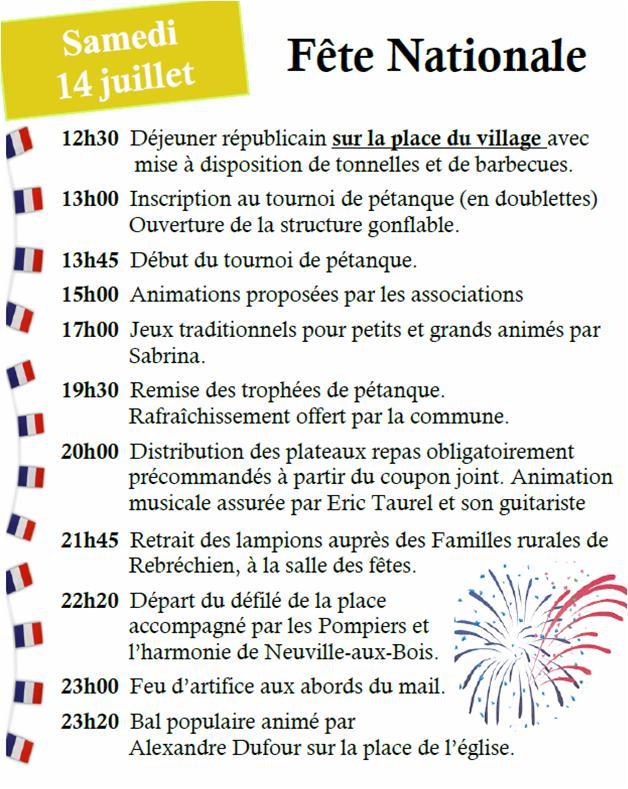 Programme du 14 juillet à Rebréchien
