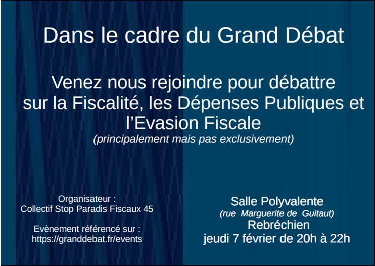 Rebréchien : Grand débat national Jeudi 07/02 à la salle polyvalente