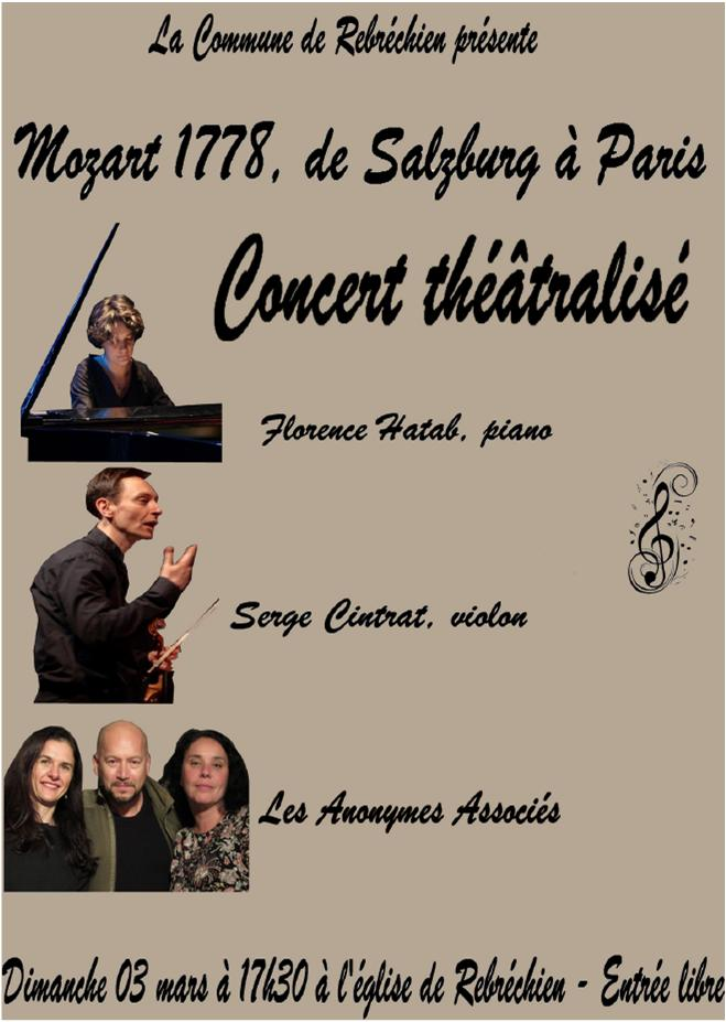 Concert théâtralisé «Mozart 1778″ à l'église de Rebréchien