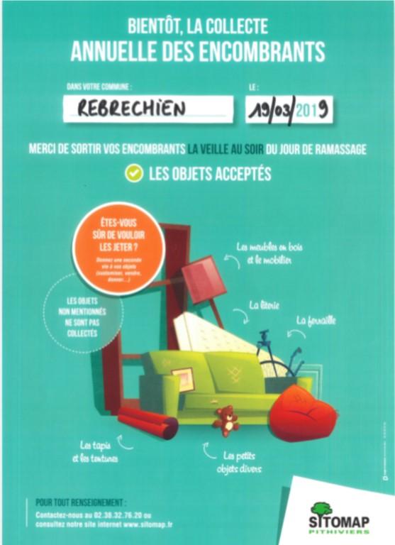 Passage des encombrants prévu mardi 19/3 à Rebréchien est reporté au 20 ou 21/03 !