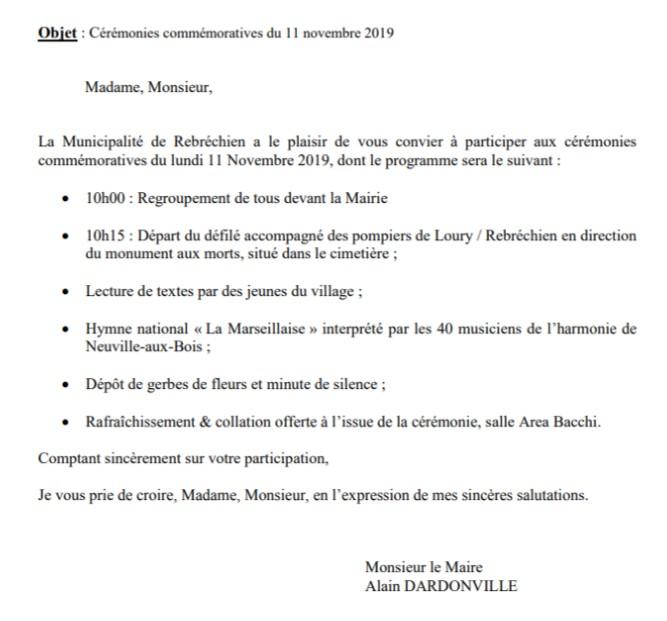 Invitation aux commémorations du 11 novembre