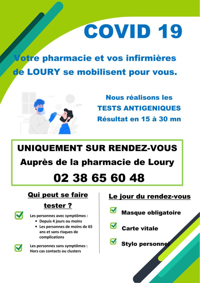 La pharmacie et les infirmières de Loury se mobilisent pour réaliser les tests antigéniquess.