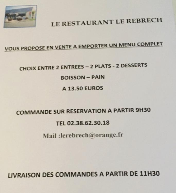 Vente à emporter au Restaurant Le Rebrech'