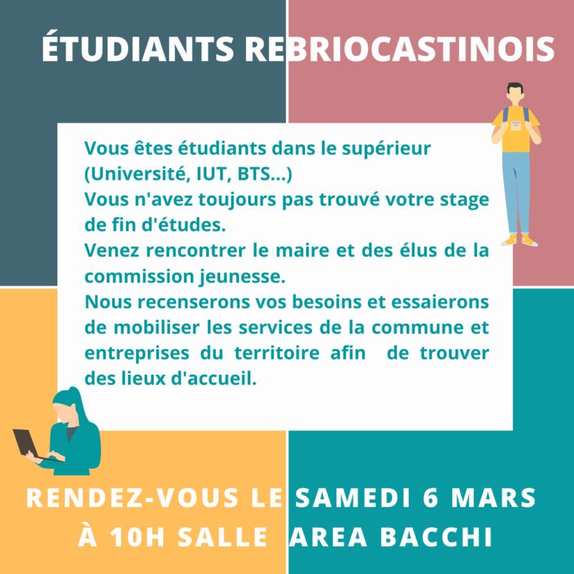 Soutien aux étudiants de Rebréchien en recherche de stage de fin d'études.