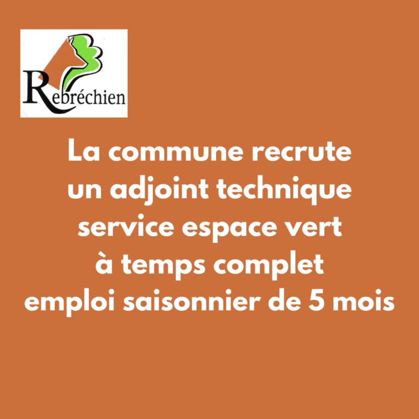 La commune recrute un emploi saisonnier