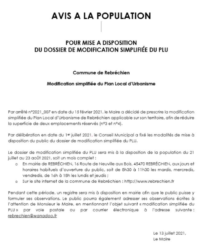 Mise à disposition d'un registre de modification simplifiée de PLU en Mairie